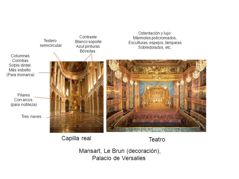 Capilla real Teatro Pilares Con arcos. (para nobleza) Columnas Corintias Sobre dintel. Más esbelto. (Para monarca) Mansart, Le Brun (decoración), Pala