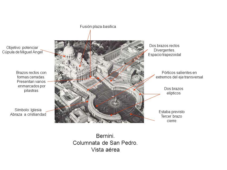 Bernini.Columnata de San Pedro. Vista aérea Dos brazos rectos Divergentes.