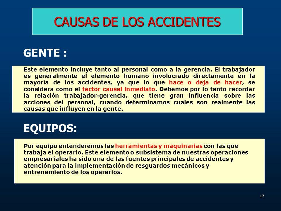 16 CAUSAS DE LOS ACCIDENTES GENTE EQUIPOS MATERIALES AMBIENTE OPERACIONES