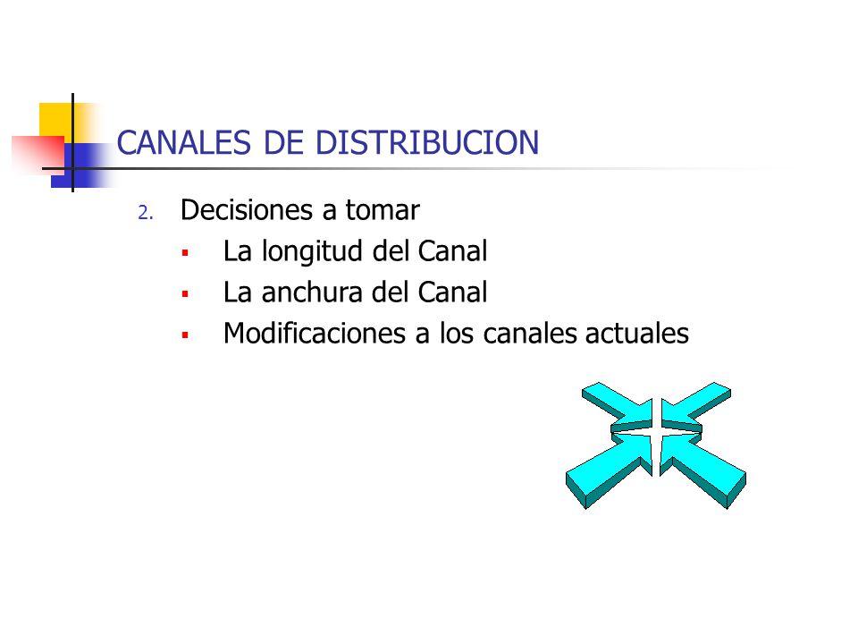 CANALES DE DISTRIBUCION 2. Decisiones a tomar La longitud del Canal La anchura del Canal Modificaciones a los canales actuales