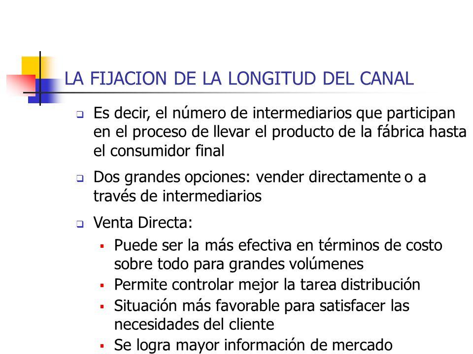 LA FIJACION DE LA LONGITUD DEL CANAL Es decir, el número de intermediarios que participan en el proceso de llevar el producto de la fábrica hasta el c