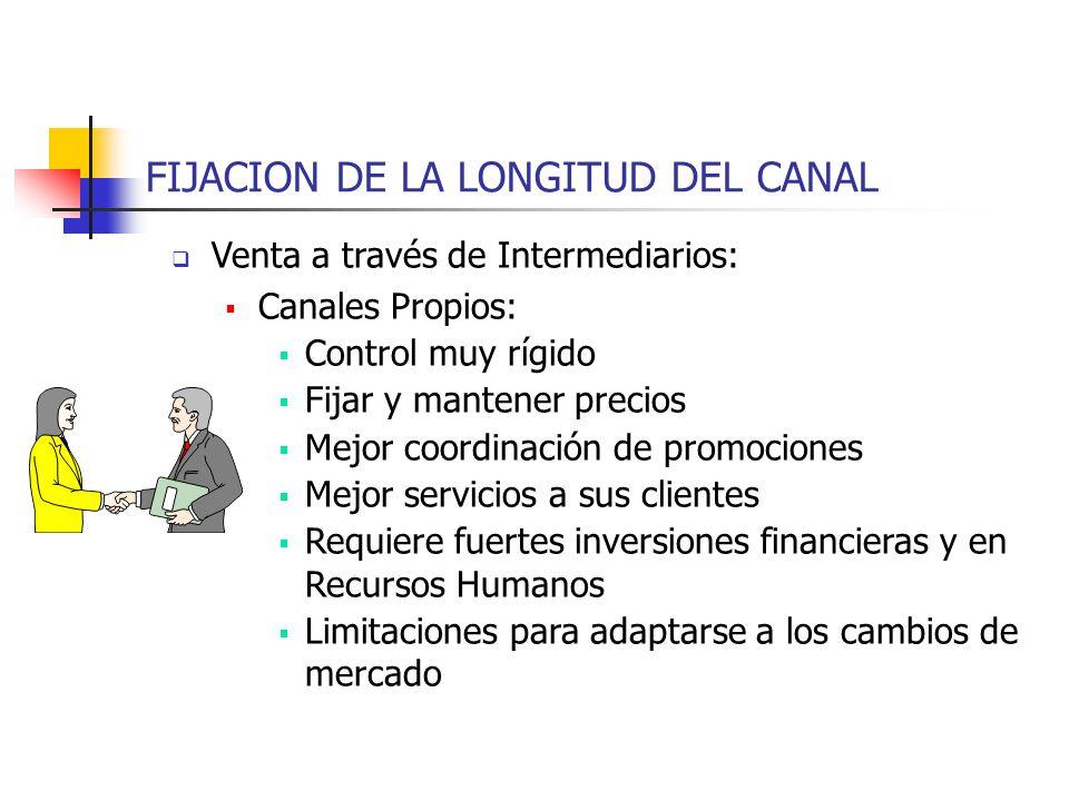 FIJACION DE LA LONGITUD DEL CANAL Venta a través de Intermediarios: Canales Propios: Control muy rígido Fijar y mantener precios Mejor coordinación de