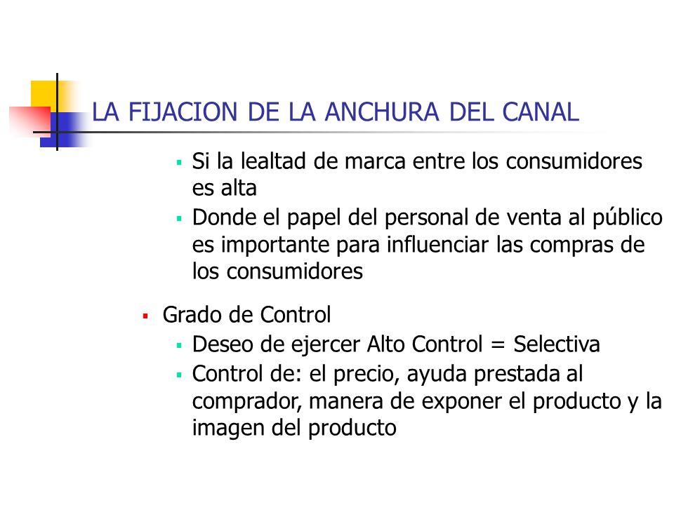 LA FIJACION DE LA ANCHURA DEL CANAL Si la lealtad de marca entre los consumidores es alta Donde el papel del personal de venta al público es important
