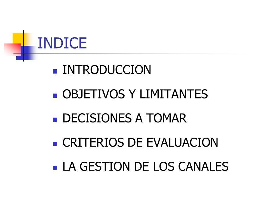 INDICE INTRODUCCION OBJETIVOS Y LIMITANTES DECISIONES A TOMAR CRITERIOS DE EVALUACION LA GESTION DE LOS CANALES