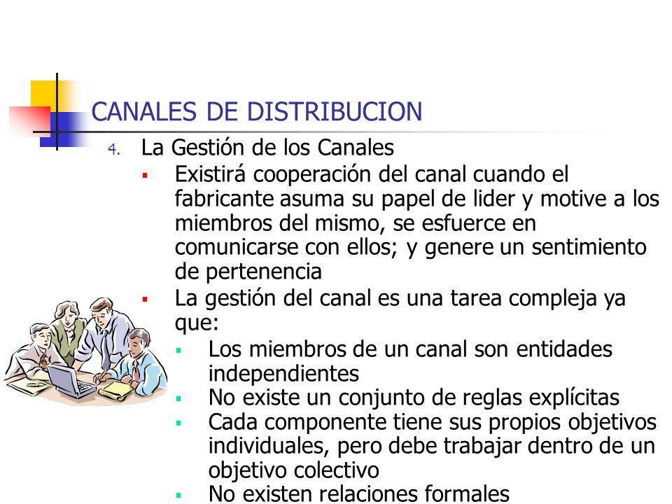 CANALES DE DISTRIBUCION 4. La Gestión de los Canales Existirá cooperación del canal cuando el fabricante asuma su papel de lider y motive a los miembr