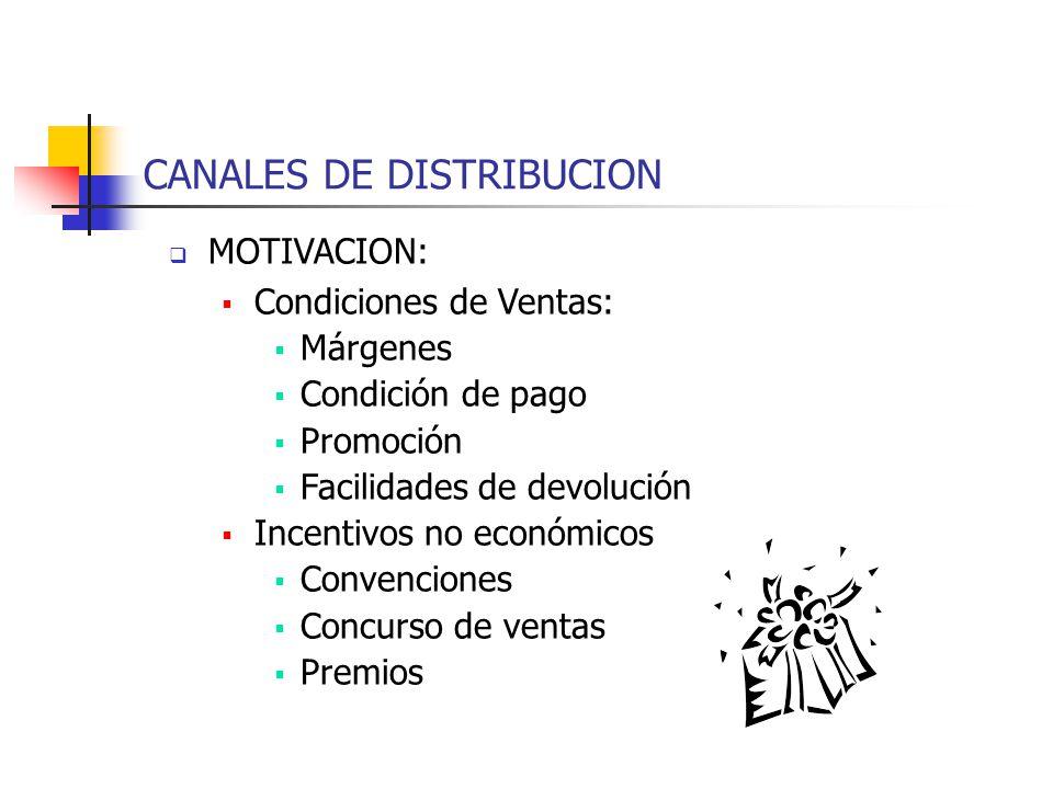 CANALES DE DISTRIBUCION MOTIVACION: Condiciones de Ventas: Márgenes Condición de pago Promoción Facilidades de devolución Incentivos no económicos Con