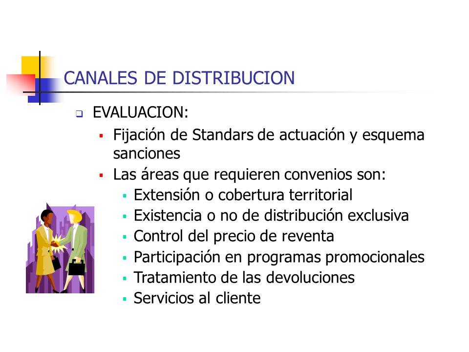 CANALES DE DISTRIBUCION EVALUACION: Fijación de Standars de actuación y esquema sanciones Las áreas que requieren convenios son: Extensión o cobertura