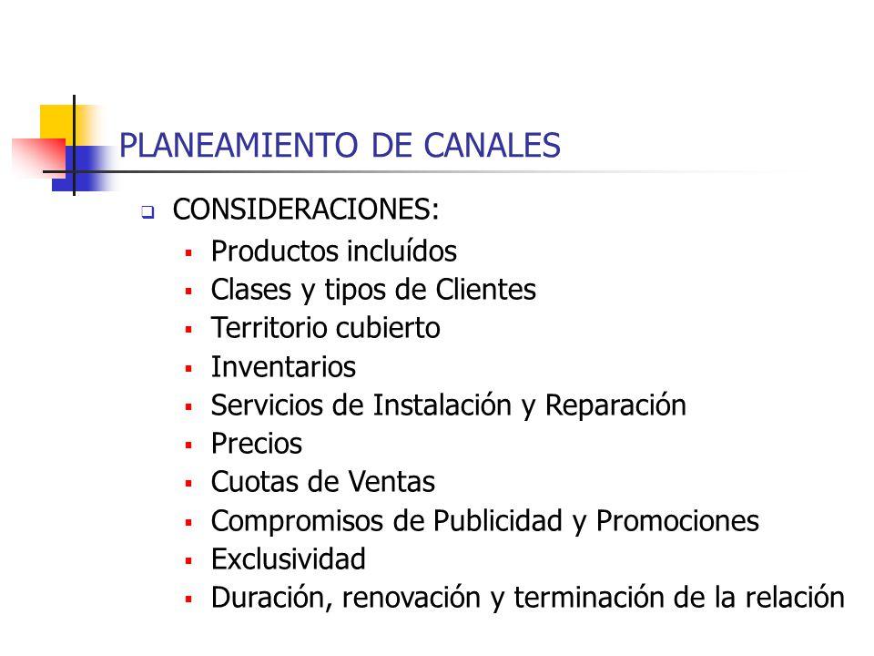 PLANEAMIENTO DE CANALES CONSIDERACIONES: Productos incluídos Clases y tipos de Clientes Territorio cubierto Inventarios Servicios de Instalación y Rep