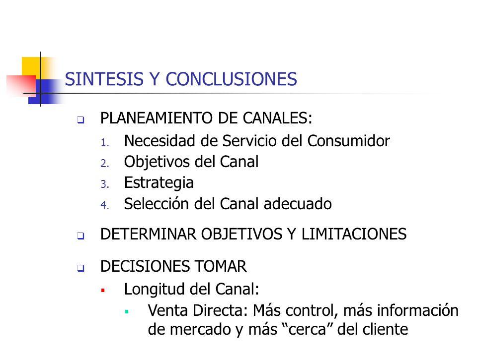 SINTESIS Y CONCLUSIONES PLANEAMIENTO DE CANALES: 1. Necesidad de Servicio del Consumidor 2. Objetivos del Canal 3. Estrategia 4. Selección del Canal a