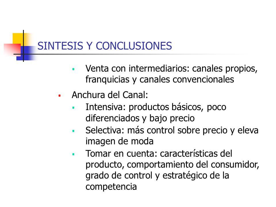 SINTESIS Y CONCLUSIONES Venta con intermediarios: canales propios, franquicias y canales convencionales Anchura del Canal: Intensiva: productos básico