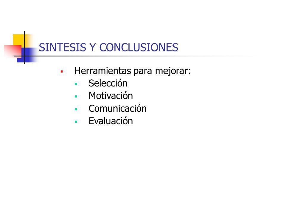 SINTESIS Y CONCLUSIONES Herramientas para mejorar: Selección Motivación Comunicación Evaluación