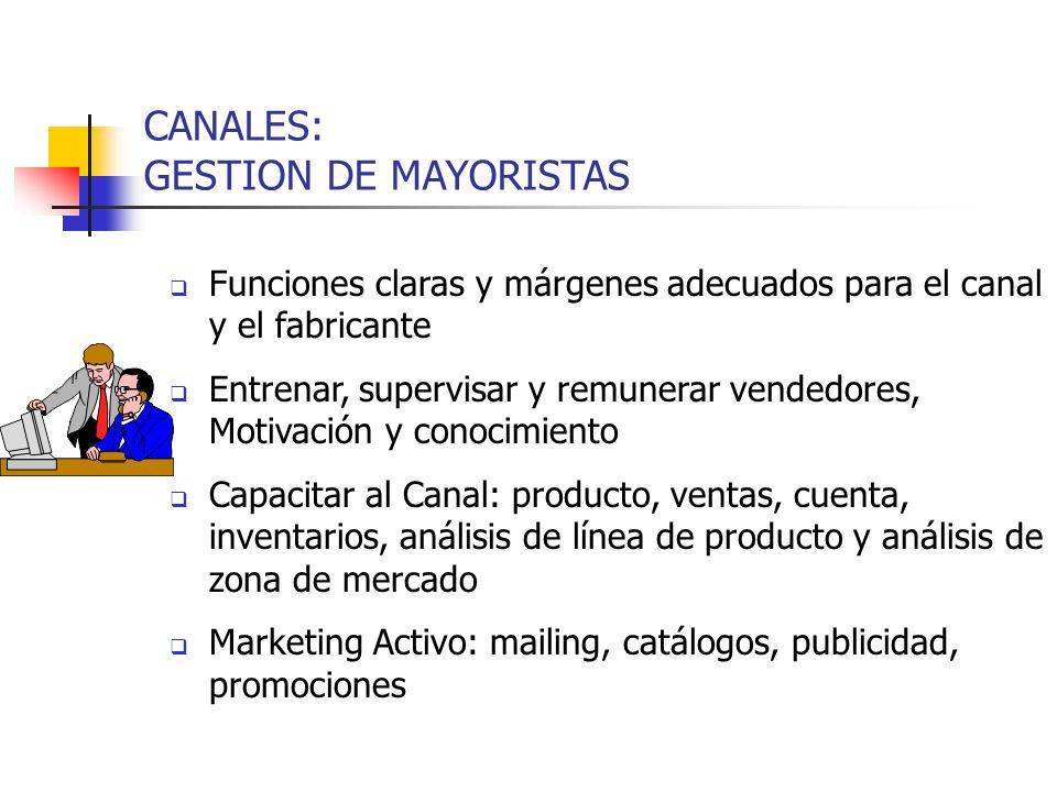 CANALES: GESTION DE MAYORISTAS Funciones claras y márgenes adecuados para el canal y el fabricante Entrenar, supervisar y remunerar vendedores, Motiva