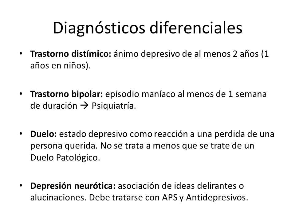 Diagnósticos diferenciales Trastorno distímico: ánimo depresivo de al menos 2 años (1 años en niños). Trastorno bipolar: episodio maníaco al menos de