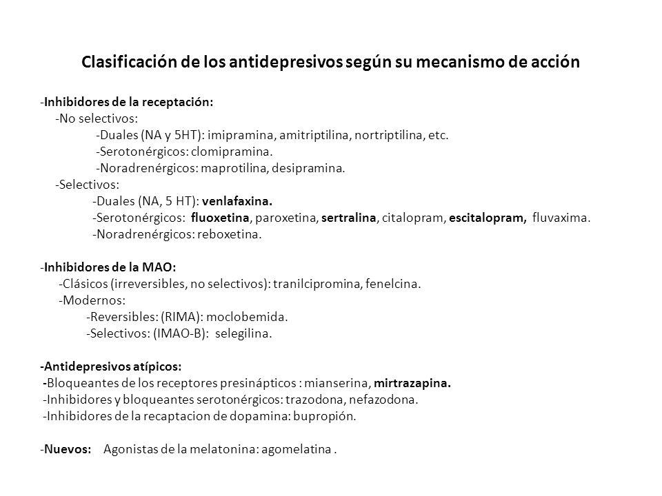 Clasificación de los antidepresivos según su mecanismo de acción -Inhibidores de la receptación: -No selectivos: -Duales (NA y 5HT): imipramina, amitr