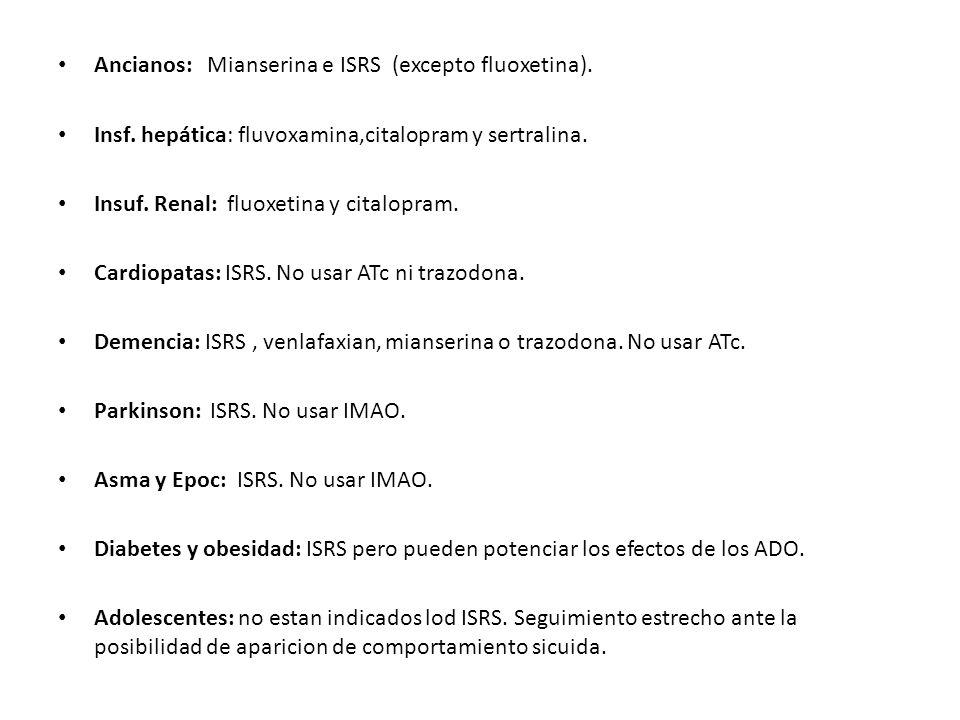 Ancianos: Mianserina e ISRS (excepto fluoxetina). Insf. hepática: fluvoxamina,citalopram y sertralina. Insuf. Renal: fluoxetina y citalopram. Cardiopa