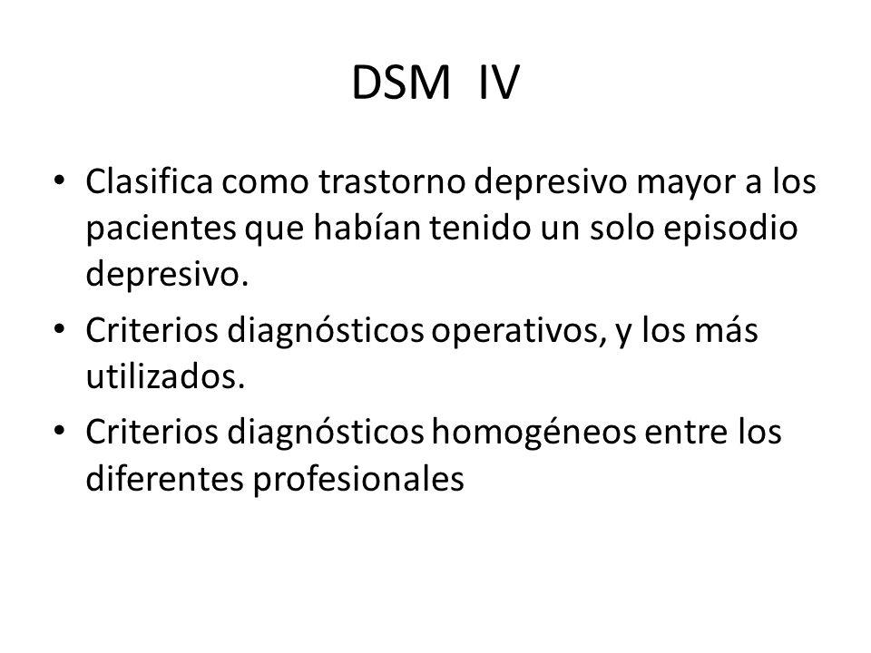 DSM IV Clasifica como trastorno depresivo mayor a los pacientes que habían tenido un solo episodio depresivo. Criterios diagnósticos operativos, y los