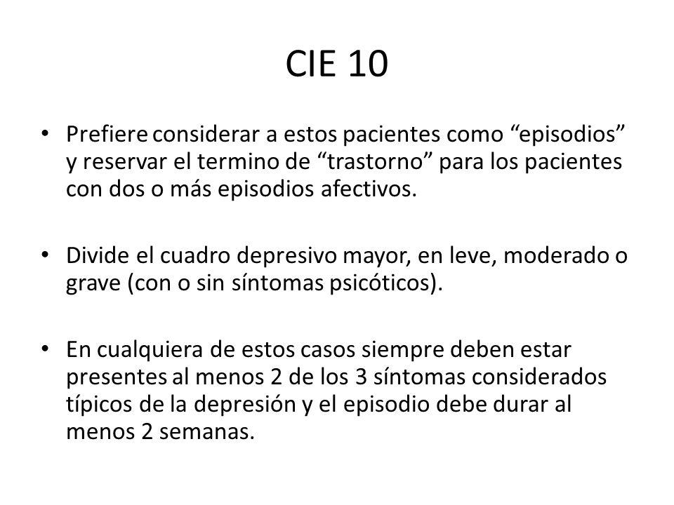 CIE 10 Prefiere considerar a estos pacientes como episodios y reservar el termino de trastorno para los pacientes con dos o más episodios afectivos. D