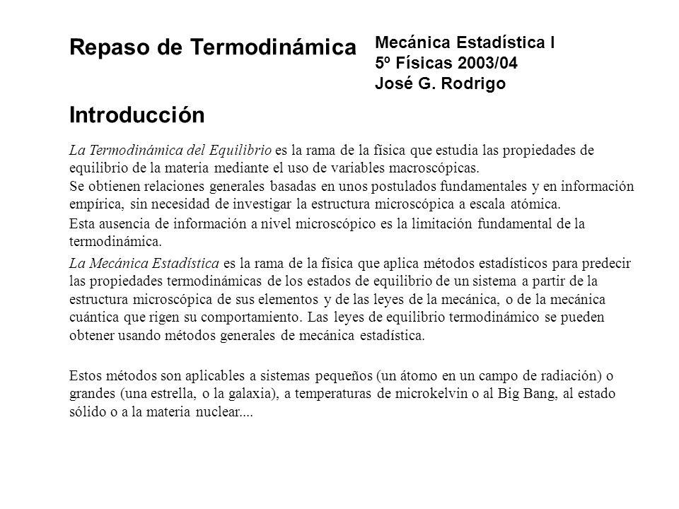Repaso de Termodinámica Introducción La Termodinámica del Equilibrio es la rama de la física que estudia las propiedades de equilibrio de la materia m