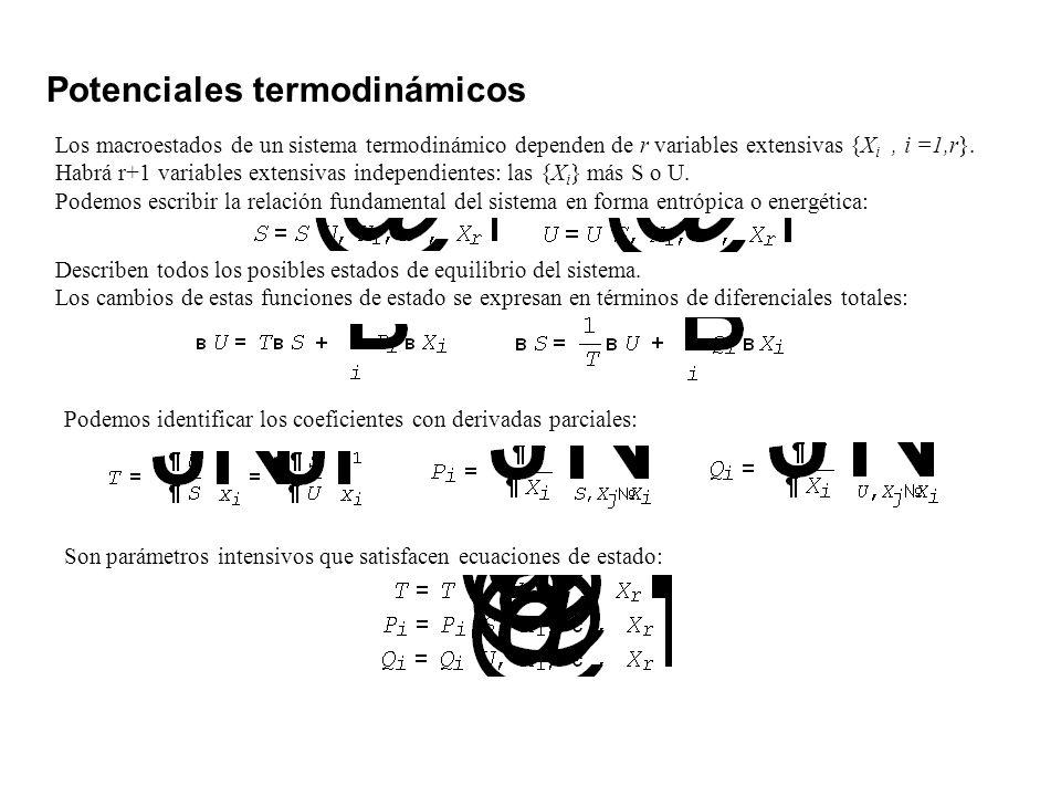 Potenciales termodinámicos Los macroestados de un sistema termodinámico dependen de r variables extensivas {X i, i =1,r}. Habrá r+1 variables extensiv
