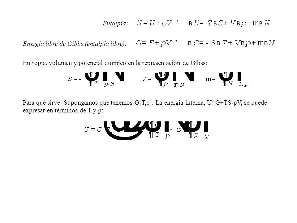 Energía libre de Gibbs (entalpía libre): Entalpía: Entropía, volumen y potencial químico en la representación de Gibss: Para qué sirve: Supongamos que