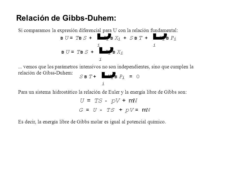 Relación de Gibbs-Duhem: Si comparamos la expresión diferencial para U con la relación fundamental:... vemos que los parámetros intensivos no son inde
