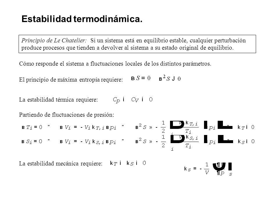 Estabilidad termodinámica. Principio de Le Chatelier: Si un sistema está en equilibrio estable, cualquier perturbación produce procesos que tienden a
