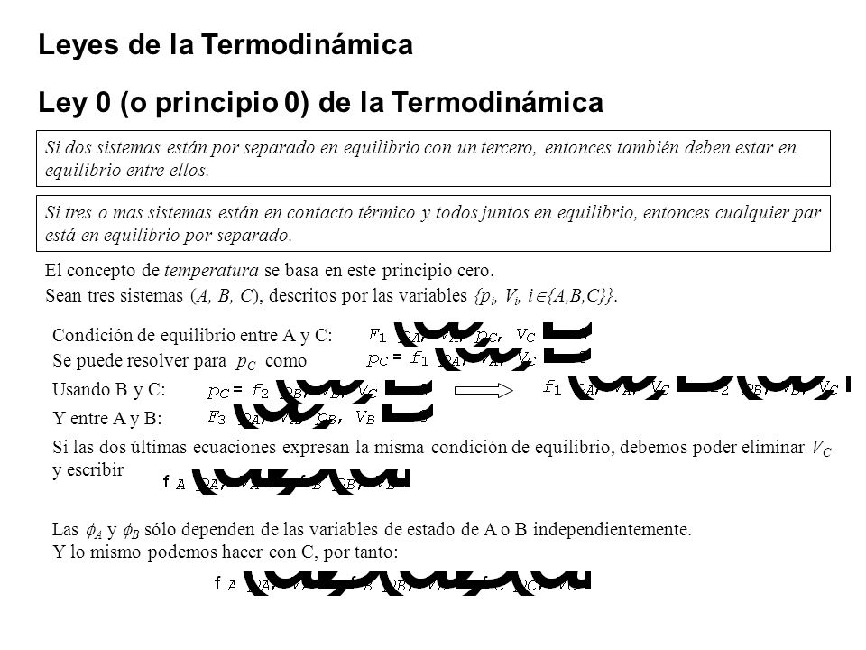 Leyes de la Termodinámica Ley 0 (o principio 0) de la Termodinámica Si dos sistemas están por separado en equilibrio con un tercero, entonces también