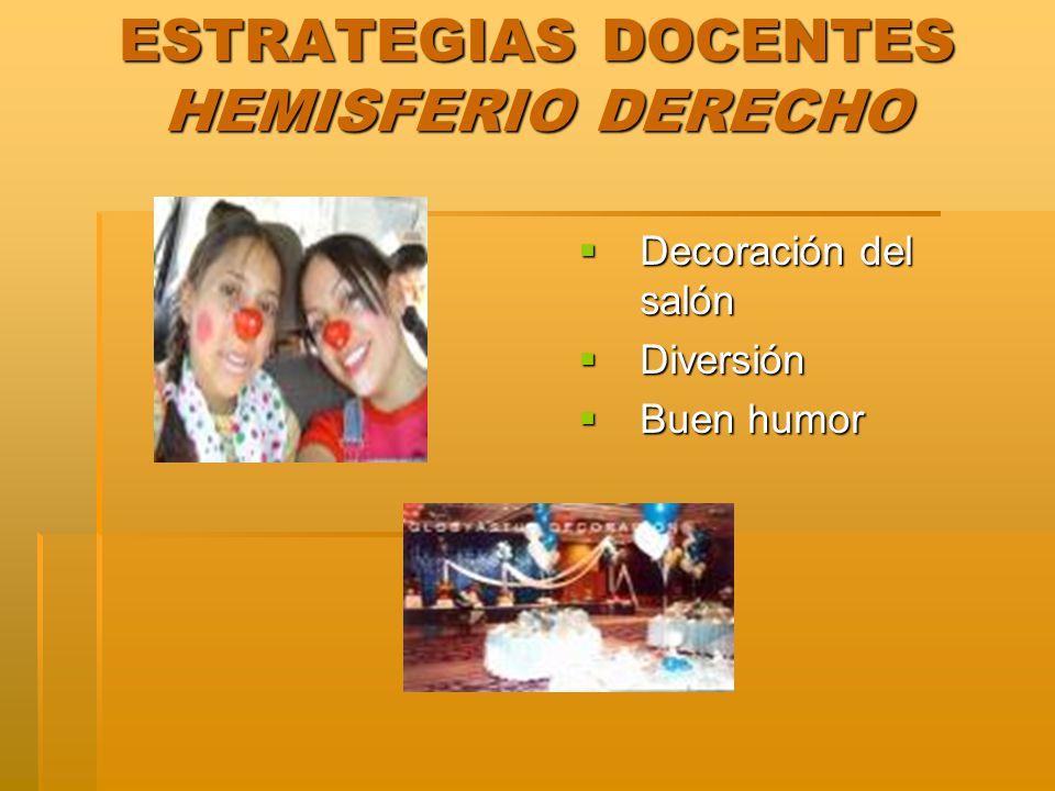 ESTRATEGIAS DOCENTES HEMISFERIO DERECHO Decoración del salón Decoración del salón Diversión Diversión Buen humor Buen humor