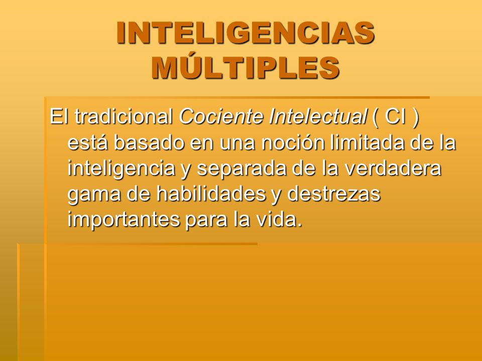 INTELIGENCIAS MÚLTIPLES El tradicional Cociente Intelectual ( CI ) está basado en una noción limitada de la inteligencia y separada de la verdadera ga