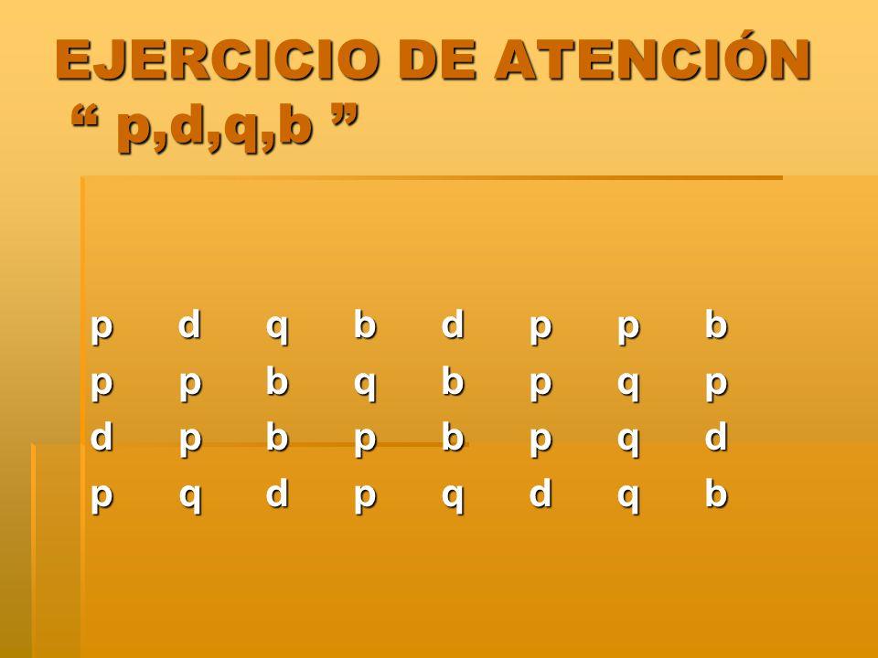 EJERCICIO DE ATENCIÓN p,d,q,b EJERCICIO DE ATENCIÓN p,d,q,b p dqbdppb p p bqbpqp d pbpbpqd p qdpqdqb