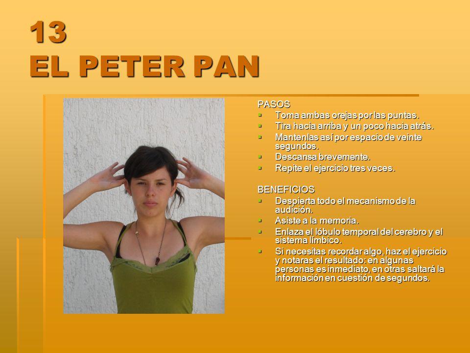 13 EL PETER PAN PASOS Toma ambas orejas por las puntas. Toma ambas orejas por las puntas. Tira hacia arriba y un poco hacia atrás. Tira hacia arriba y
