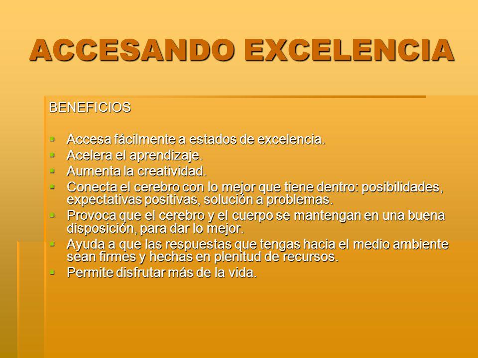 ACCESANDO EXCELENCIA BENEFICIOS Accesa fácilmente a estados de excelencia. Accesa fácilmente a estados de excelencia. Acelera el aprendizaje. Acelera