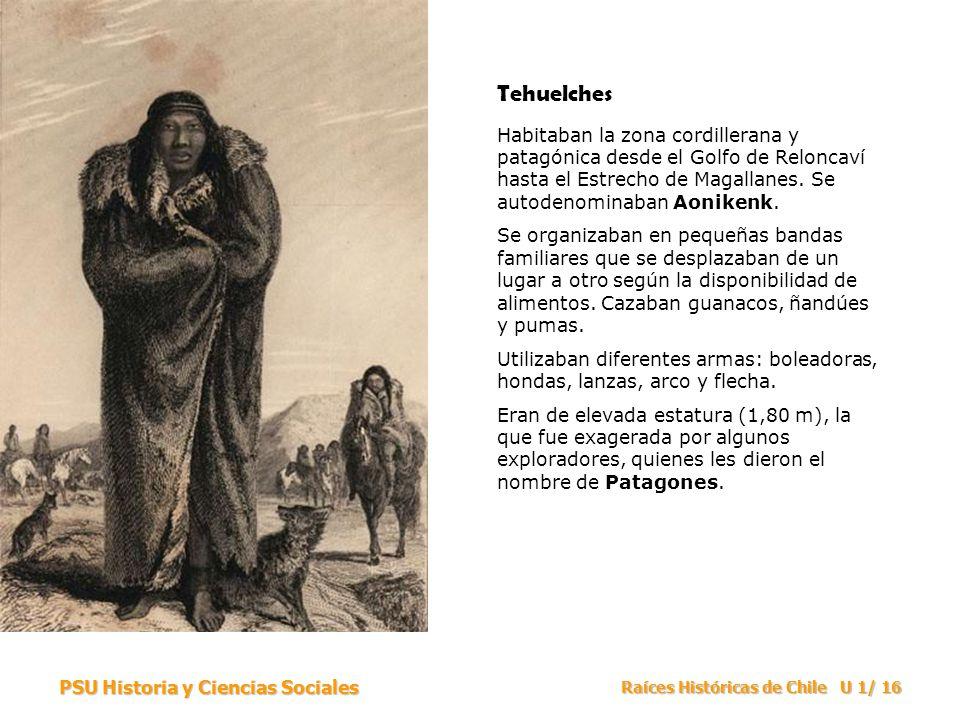 PSU Historia y Ciencias Sociales Raíces Históricas de Chile U 1/ 16 Tehuelches Habitaban la zona cordillerana y patagónica desde el Golfo de Reloncaví