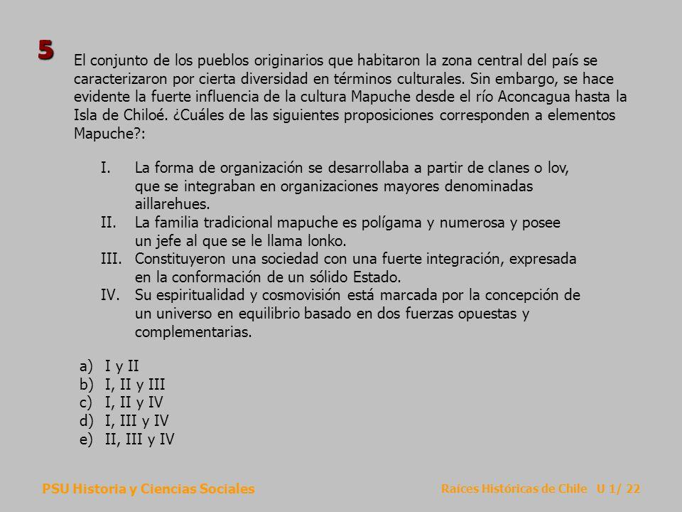 PSU Historia y Ciencias Sociales Raíces Históricas de Chile U 1/ 22 El conjunto de los pueblos originarios que habitaron la zona central del país se c