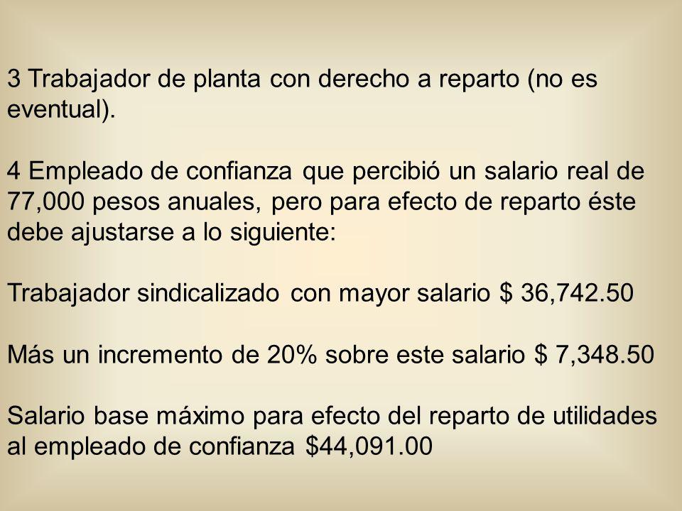 3 Trabajador de planta con derecho a reparto (no es eventual). 4 Empleado de confianza que percibió un salario real de 77,000 pesos anuales, pero para