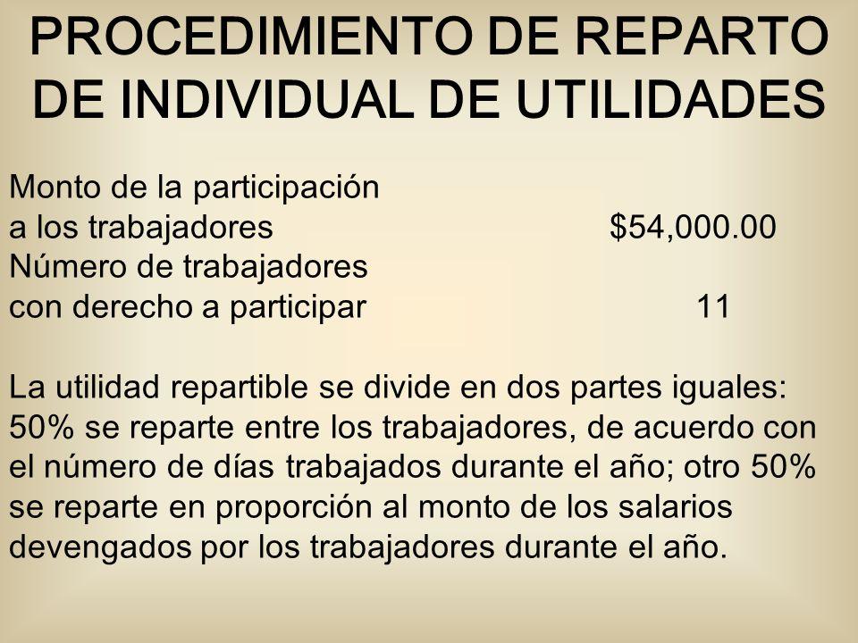 Monto de la participación a los trabajadores $54,000.00 Número de trabajadores con derecho a participar 11 La utilidad repartible se divide en dos par