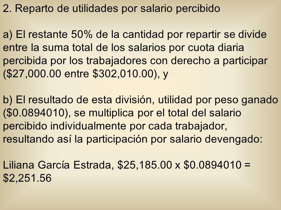 2. Reparto de utilidades por salario percibido a) El restante 50% de la cantidad por repartir se divide entre la suma total de los salarios por cuota