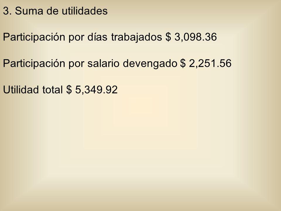 3. Suma de utilidades Participación por días trabajados $ 3,098.36 Participación por salario devengado $ 2,251.56 Utilidad total $ 5,349.92