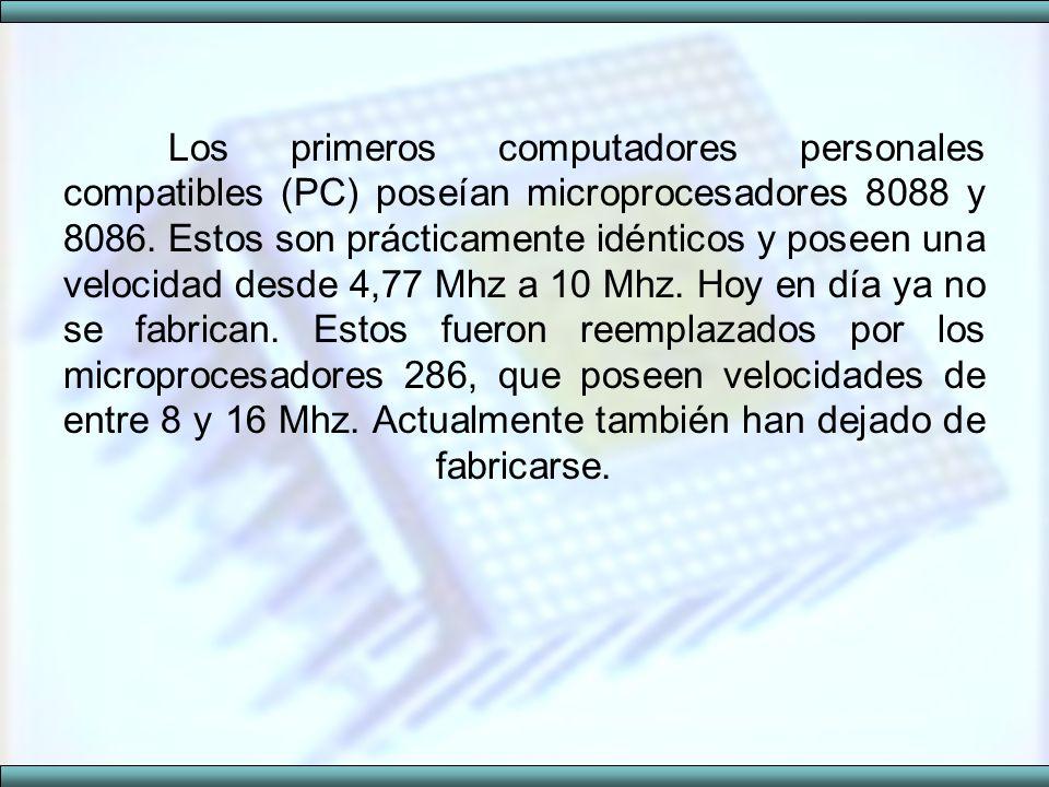 Los primeros computadores personales compatibles (PC) poseían microprocesadores 8088 y 8086. Estos son prácticamente idénticos y poseen una velocidad