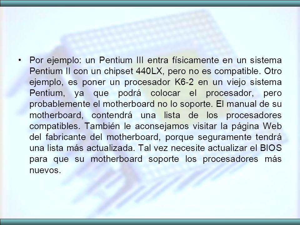 Por ejemplo: un Pentium III entra físicamente en un sistema Pentium II con un chipset 440LX, pero no es compatible. Otro ejemplo, es poner un procesad