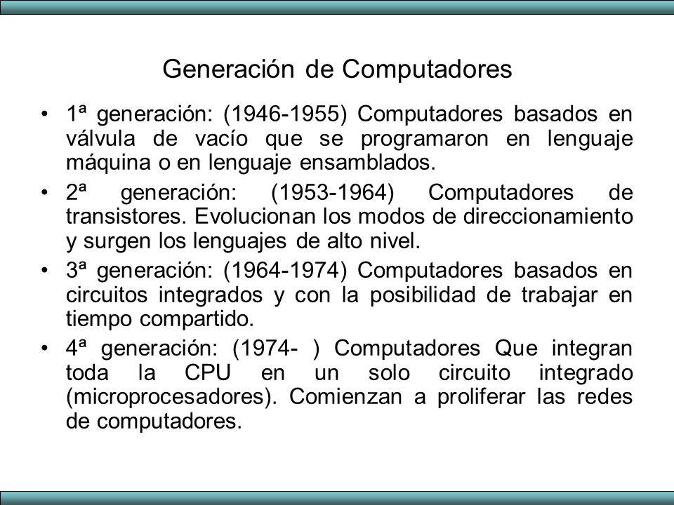 Generación de Computadores 1ª generación: (1946-1955) Computadores basados en válvula de vacío que se programaron en lenguaje máquina o en lenguaje en
