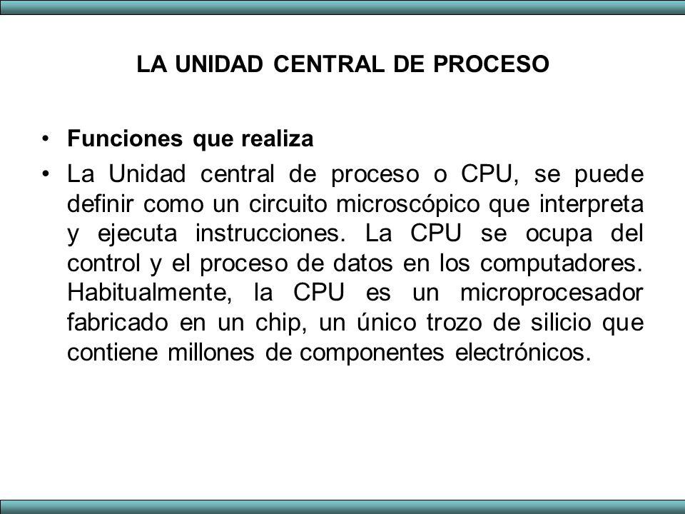 LA UNIDAD CENTRAL DE PROCESO Funciones que realiza La Unidad central de proceso o CPU, se puede definir como un circuito microscópico que interpreta y