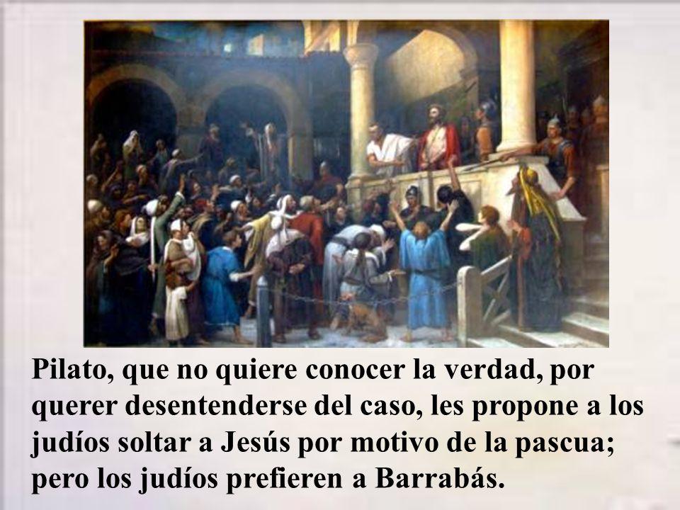 Pilato, dentro del pretorio, pregunta a Jesús: ¿Eres rey.