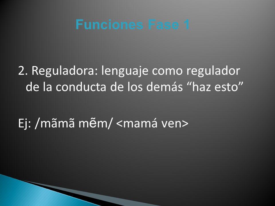 Funciones Fase 1 2. Reguladora: lenguaje como regulador de la conducta de los demás haz esto Ej: /mãmã m m/