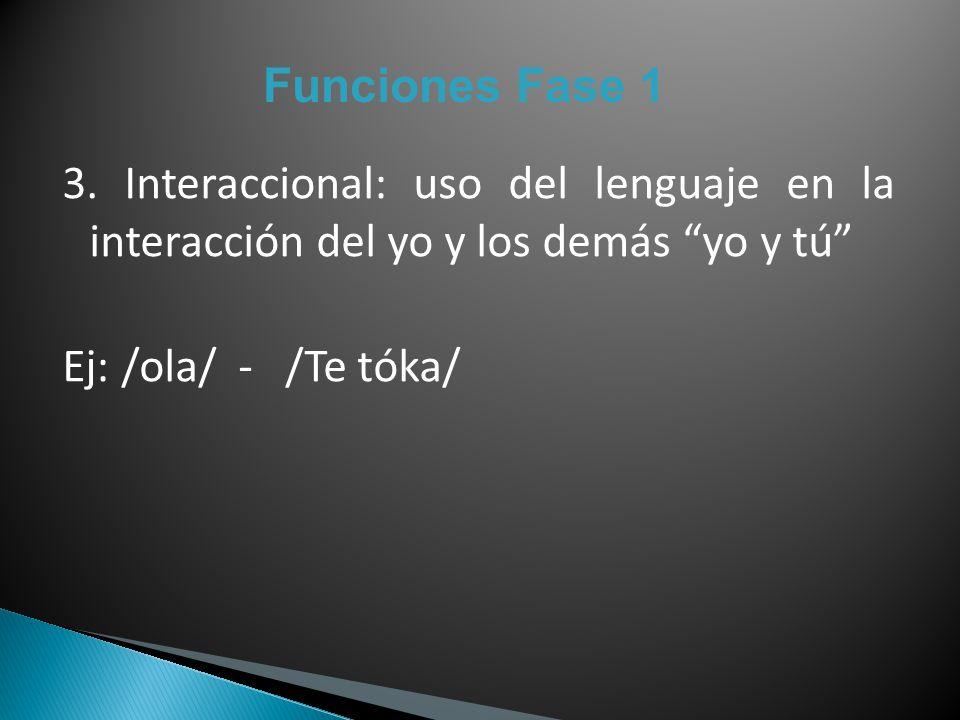 Funciones Fase 1 3. Interaccional: uso del lenguaje en la interacción del yo y los demás yo y tú Ej: /ola/ - /Te tóka/
