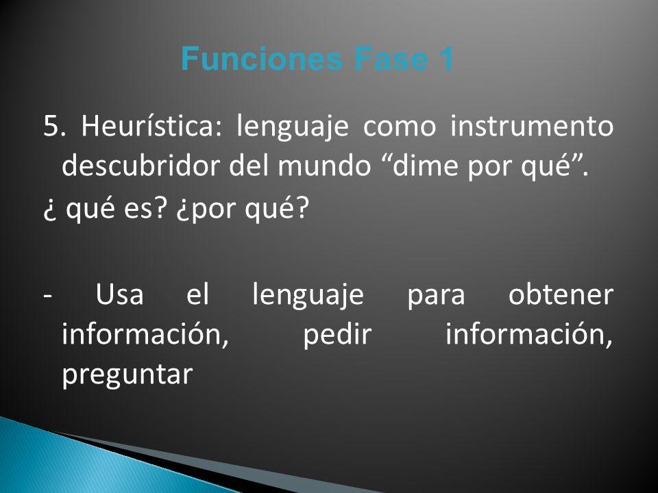 Funciones Fase 1 5. Heurística: lenguaje como instrumento descubridor del mundo dime por qué. ¿ qué es? ¿por qué? - Usa el lenguaje para obtener infor