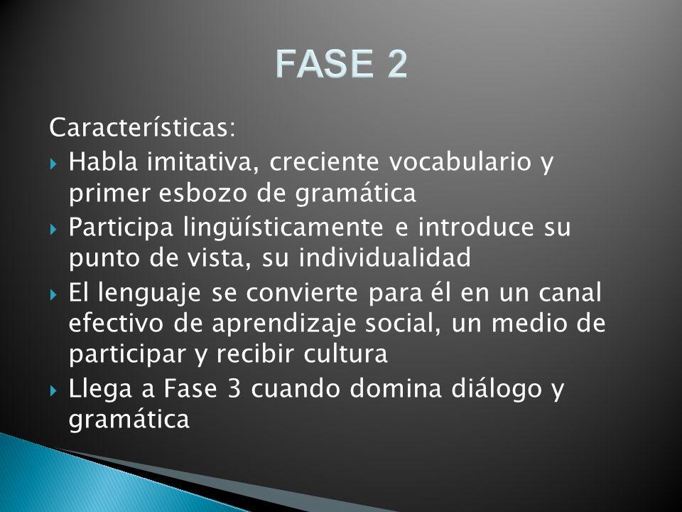 FASE 2 Características: Habla imitativa, creciente vocabulario y primer esbozo de gramática Participa lingüísticamente e introduce su punto de vista,
