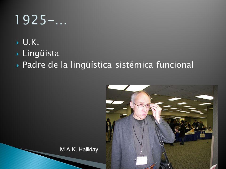1925-… U.K. Lingüista Padre de la lingüística sistémica funcional M.A.K. Halliday