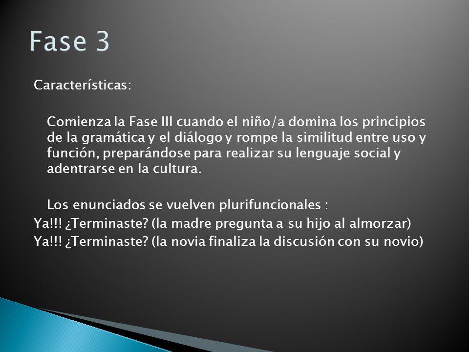 Fase 3 Características: Comienza la Fase III cuando el niño/a domina los principios de la gramática y el diálogo y rompe la similitud entre uso y func