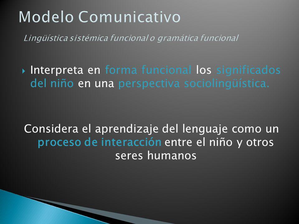 Modelo Comunicativo Lingüística sistémica funcional o gramática funcional Interpreta en forma funcional los significados del niño en una perspectiva s
